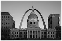 Old Courthouse, Arch, and downtown from Kiener Plaza at sunset. Gateway Arch National Park ( black and white)