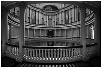 Elaborately decorated interior of Old Courthouse rotunda. Gateway Arch National Park ( black and white)