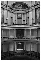 Old Courthouse rotunda with columns in diverse styles. Gateway Arch National Park ( black and white)