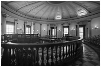 Circuit court 4 with balustrade, Old Courthouse. Gateway Arch National Park ( black and white)