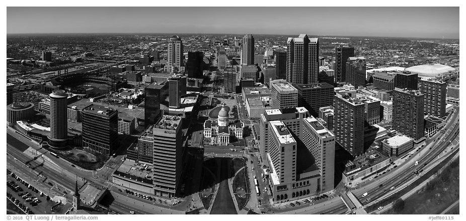 Downtown St Louis from top of Gateway Arch. Gateway Arch National Park (black and white)