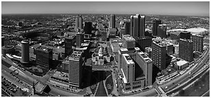 Downtown St Louis from top of Gateway Arch. Gateway Arch National Park (Panoramic black and white)