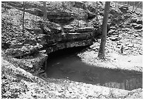 Styx resurgence in winter. Mammoth Cave National Park, Kentucky, USA. (black and white)