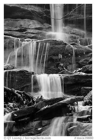 Stream cascading over limestone rocks. Mammoth Cave National Park (black and white)