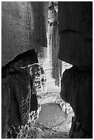 Shaft and pool inside cave. Mammoth Cave National Park, Kentucky, USA. (black and white)