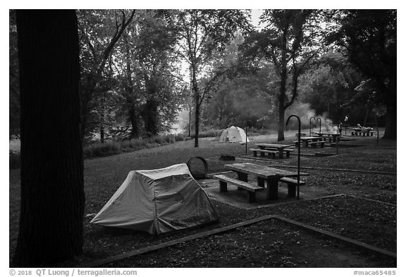 Houchin Ferry Campground. Mammoth Cave National Park (black and white)