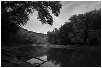 Green River in the morning, Houchin Ferry. Mammoth Cave National Park ( black and white)