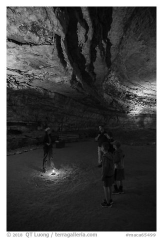 Ranger talking to family in cave. Mammoth Cave National Park (black and white)