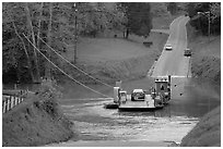 Car crossing Green River on ferry. Mammoth Cave National Park, Kentucky, USA. (black and white)