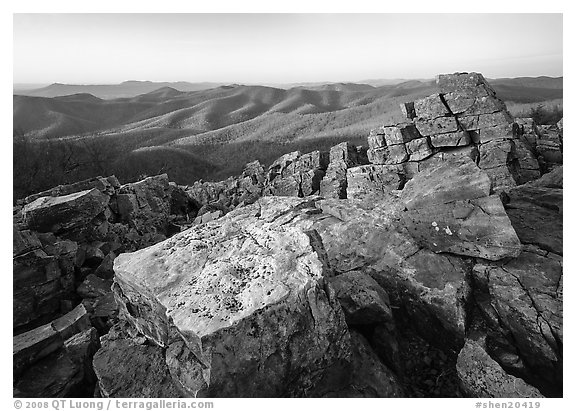 Pile of rectangular shape rocks on Black Rock summit, late afternoon. Shenandoah National Park (black and white)