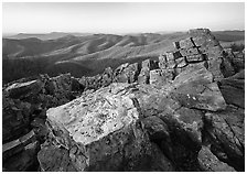Pile of rectangular shape rocks on Black Rock summit, late afternoon. Shenandoah National Park ( black and white)