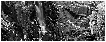 Cascade over dark rocks sprinkled with fallen autumn leaves. Shenandoah National Park (Panoramic black and white)