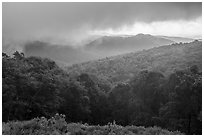 Forested ridges and approaching storm, Thornton Hollow Overlook. Shenandoah National Park ( black and white)