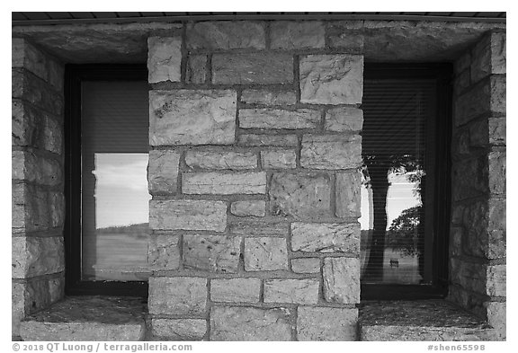 Window reflexion, Big Meadows Visitor Center. Shenandoah National Park (black and white)
