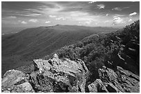 View from Hawksbill Mountain. Shenandoah National Park ( black and white)