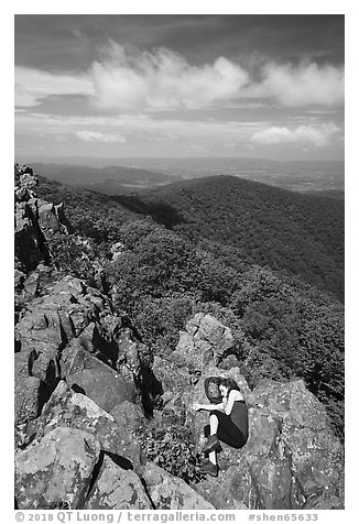 Nap on Hawksbill Mountain. Shenandoah National Park (black and white)