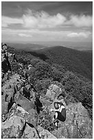 Nap on Hawksbill Mountain. Shenandoah National Park ( black and white)