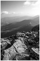 View over hills and crest from Little Stony Man, early morning. Shenandoah National Park ( black and white)