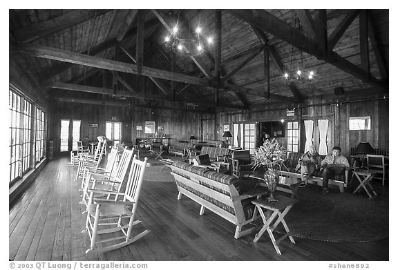 Interior hall of Shenandoah Lodge. Shenandoah National Park (black and white)