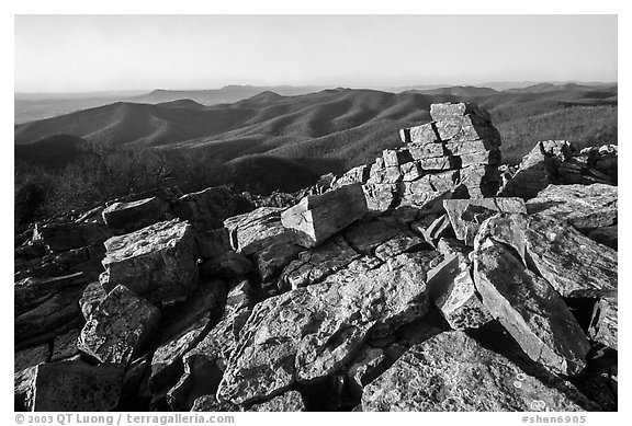 Black Rock, late afternoon. Shenandoah National Park (black and white)