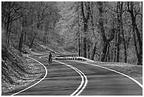 Bicyclist on Skyline drive. Shenandoah National Park ( black and white)