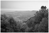 Looking west towards farmlands at sunset. Shenandoah National Park, Virginia, USA. (black and white)