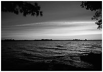 Sunrise, Kabetogama lake near Woodenfrog. Voyageurs National Park, Minnesota, USA. (black and white)