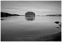 Island on Kabetogama lake near Ash river. Voyageurs National Park, Minnesota, USA. (black and white)