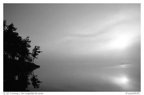 Sunrise and fog, Woodenfrog, Kabetogama Lake. Voyageurs National Park (black and white)