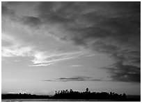 Clouds and islet at sunset, Kabetogama Lake. Voyageurs National Park ( black and white)
