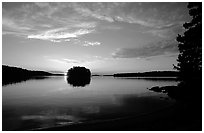 Sunset on island on Kabetogama lake near Ash river. Voyageurs National Park, Minnesota, USA. (black and white)