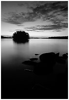 Sunset on islet on Kabetogama Lake near Ash river. Voyageurs National Park, Minnesota, USA. (black and white)