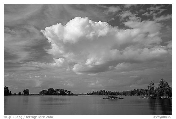Bright cloud above Rainy lake. Voyageurs National Park (black and white)