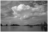 Bright cloud above Rainy lake. Voyageurs National Park ( black and white)