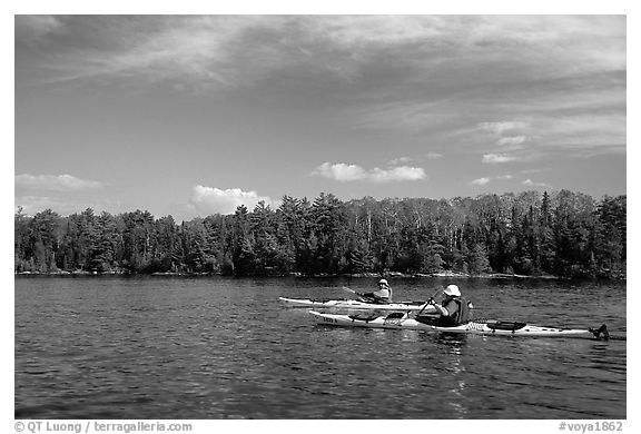 Kayakers. Voyageurs National Park (black and white)