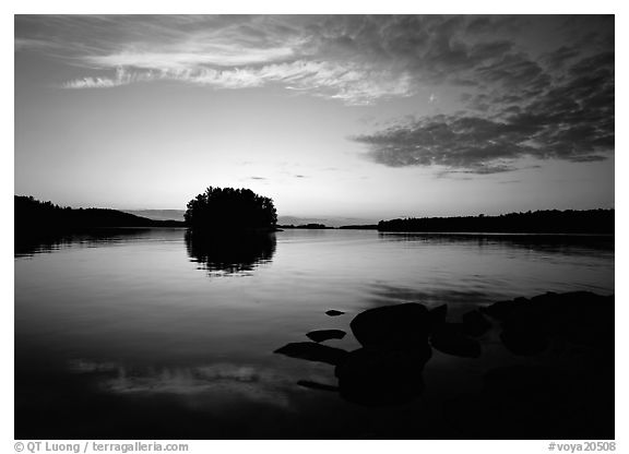 Kabetogama lake sunset with tree-covered islet. Voyageurs National Park (black and white)