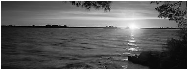 Sunrise over lake. Voyageurs National Park (Panoramic black and white)