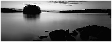 Calm evening over Kabetogama Lake. Voyageurs National Park (Panoramic black and white)