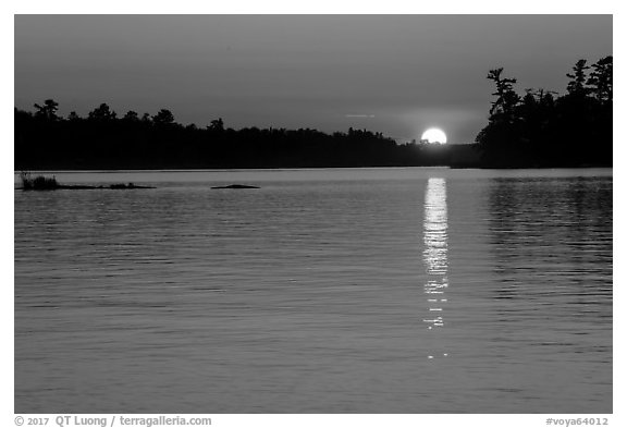 Sun setting over Kabetogama Lake. Voyageurs National Park (black and white)