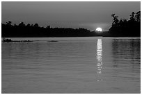 Sun setting over Kabetogama Lake. Voyageurs National Park ( black and white)