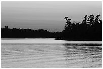 Water ripples and Bittersweet Island at sunset, Kabetogama Lake. Voyageurs National Park ( black and white)