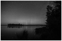 Northern Lights, Bittersweet Island, Kabetogama Lake. Voyageurs National Park ( black and white)