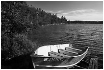 Boat on shore of Mukooda Lake. Voyageurs National Park ( black and white)