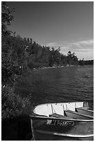 Boat, Mukooda Lake. Voyageurs National Park ( black and white)