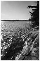 Rock slab on shore of Mukooda Lake. Voyageurs National Park ( black and white)