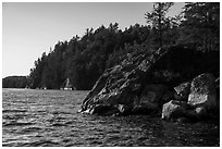 Rocks and cliffs, Grassy Bay. Voyageurs National Park ( black and white)