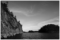 Grassy Bay Cliffs formed by Lac La Croix biotite granite batholith. Voyageurs National Park ( black and white)
