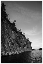 Granite cliffs, Grassy Bay. Voyageurs National Park ( black and white)