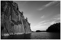 Grassy Bay Cliffs, late afternoon. Voyageurs National Park ( black and white)