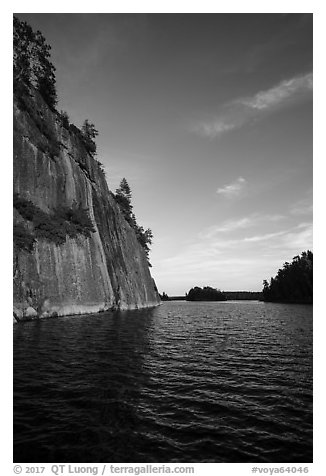 125 feet cliffs of Grassy Bay, Sand Point Lake. Voyageurs National Park (black and white)